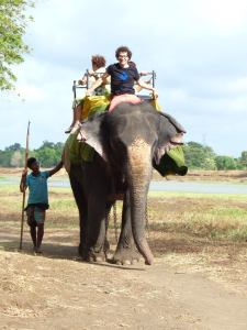 photo de Laurent sur un éléphant au Sri Lanka