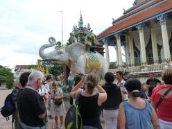notre groupe face à la statue d'éléphant blanc du prince khmer
