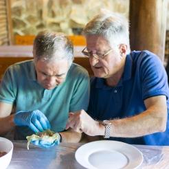 cours de cuisine, fabrication de sarmales : cuisiniers : Hervé et Daniel